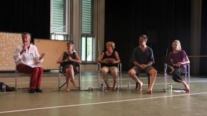 IDOCDE Symposium, Wien, heinäkuu 2013, How to dance today -paneelikeskustelun puheenjohtaja  Michael Wimmer (AT) sekä panelistit Kirsty Alexander (UK), Sebnem Aksan (TR), Rick Nodine (UK/US) ja Eva Karczag (NL/HU) Kuva: Emre Sökmen.