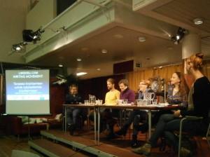 Kuvassa Mikael Aaltonen, Veli Lehtovaara, Annika Tudeer, Minna Tawast, Maria Säkö ja Veera Lamberg. Kuva: Jenni Sainio.